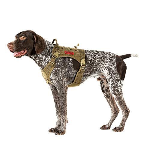OneTigris Taktische Hundeweste Service Hundegeschirr MOLLE Hundeausbildung Geschirr 1000D Nylon (M, Braun)