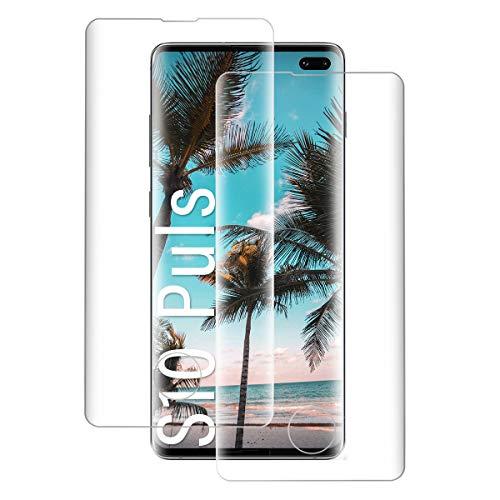 Shalwinn 2 Stück Panzerglasfolie Schutzfolie für Samsung Galaxy S10 Plus, 9H Härte Panzerfolie, Anti-Fingerabdruck Panzerglas folie, HD Klar, Blasenfrei, Vollabdeckung Displayschutzfolie