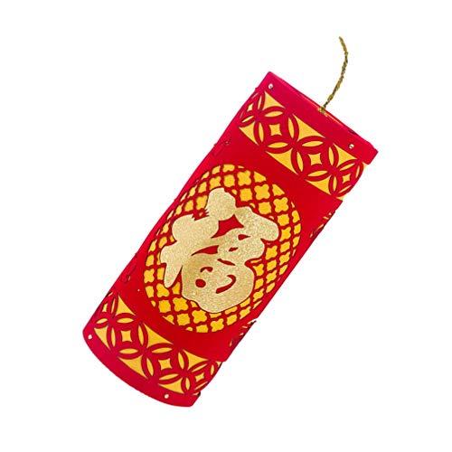 SOIMISS Chinesisches Neujahr Deko 2021 Fu Worte Chinesisches Frühlingsfest Ornamente Chinesische Neujahrsfeuerwerkskörper Hängen Dekoration Rot Glückliche Orientalische Verzierung Größe 3