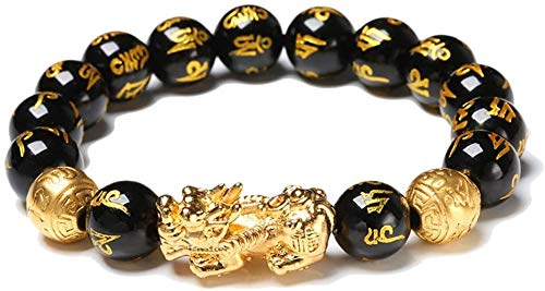 Reichtum Black Bead Armbänder Amulett Goldenes Pixiu Armband Obsidian Bangle
