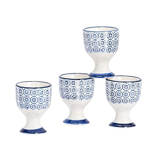 Nicola Spring Coquetiers en Porcelaine - à Motif Floral Bleu - Lot de 4