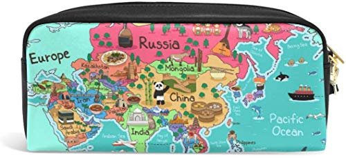 Asia Map Pencil Pounch Case Pen Bag Zipper Boy Girl Teen Women College School Writing Supply