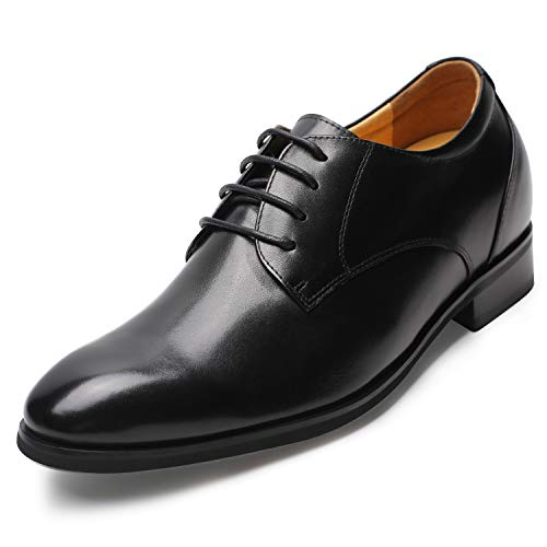 CHAMARIPA Men's Invisible Height Increasing Elevator Shoes - Black Genuine Leather Formal Dress Oxfords - 2.96 Inches Taller - DX70H106S