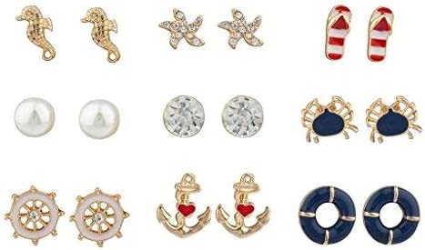 Lux Accessories Gold Tone Crystal Pearl Red White Blue Nautical Earring Set