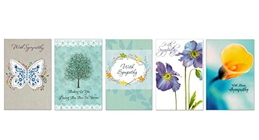 10 Sympathy Cards with Envelopes - Boxed Enclosure Cards 5 Different Designs. Fantus Paper 5040-SY13