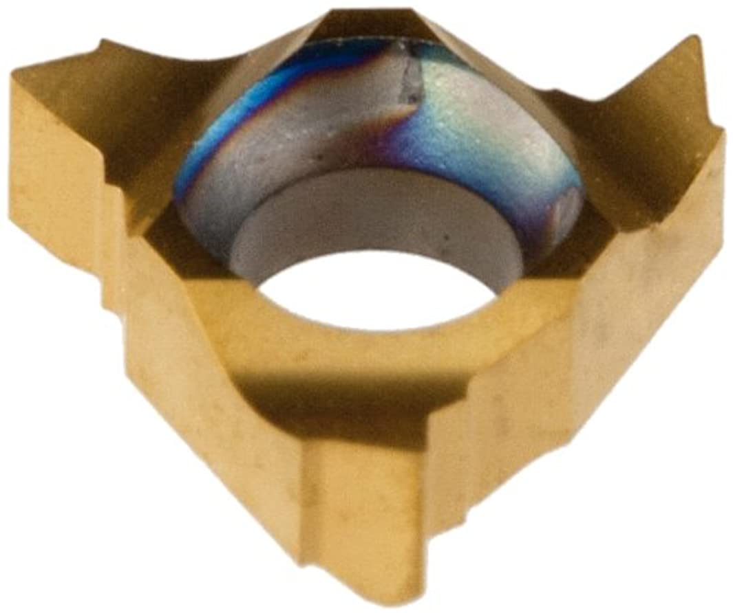 Dorian Tool 11EL PVD-TiN Coated Carbide Laydown External Threading Inserts, Left Hand Cut, General Purpose Chip Breaker for Ferrous Metals, V Thread, 16-48 TPI (Pack of 10)
