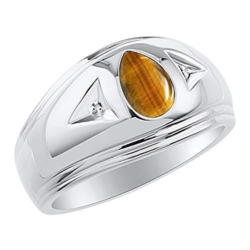Atemporal con forma de pera & de ojo de tigre naturales pendientes de anillo de diamante de plata 925