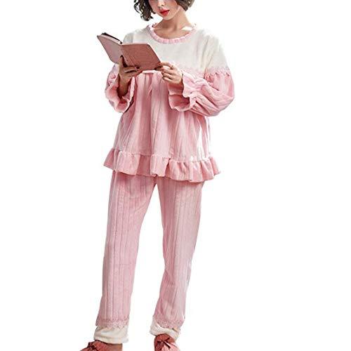 clothing Pyjamas pour Femmes Enceintes, épaississement d'automne et d'hiver pour Femmes et Pyjamas en Flanelle de Grossesse en Velours, vêtements d'allaitement Post-Partum Pyjamas