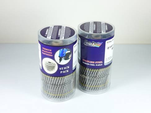 NailPro 1-1/2-Inch by 0.120 - 15 Degree Wire Coil Ring Shank Roofing Nail - Stainless Steel -720 pc. Stack Pack by Nail Pro