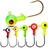 Fishing Lures Jig Heads with Double Eyes Ball Head, Sharp Fishing Hooks for Bass Trout Freshwater Saltwater Tackle Box (3.5g - 50pcs)