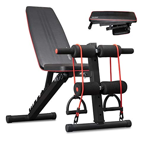 arteesol Weight Bench – Adjustable Weight Bench Workout Bench Exercise Bench with Elastic Strings for Full Body Training (Carbon)
