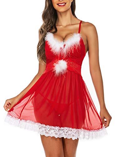 Avidlove Weihnachtsunterwäsche für Damen, sexy grünes Weihnachtsmannkleid, Grün, Babydolls, Spitze, Unterhemd, S-XXL - Rot - X-Large