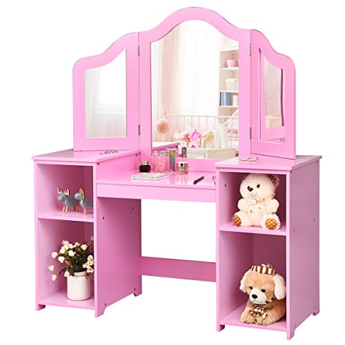 Costzon Kids Vanity Table, 2 in 1 Detachable Design with Dressing Table and Writing Desk, Makeup Dressing Table with Four Storage Shelves Two Folding Mirrors Children Girls (Pink)