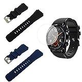 SourceTon - Correas de silicona de repuesto con hebilla de metal y protectores de pantalla para Huawei Watch GT/Watch GT2. Correas de color negro y azul, y 2 protectores de pantalla incluidos