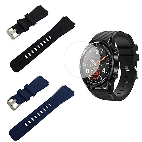 Compatible with Huawei Watch GT/Watch GT2 Silicone Bands and Screen Protectors, SourceTon Silicone Replacement Wristbands (Black & Blue) with Metal Buckle and 2 Screen Films for Huawei Watch GT/ GT2