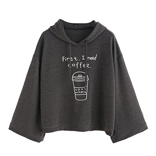 Longra First, I Need Coffee Impreso,Gato Sudaderas con Capucha Mujer Tumblr Largas Negra Moda Suéter Tops, (M, Gris)
