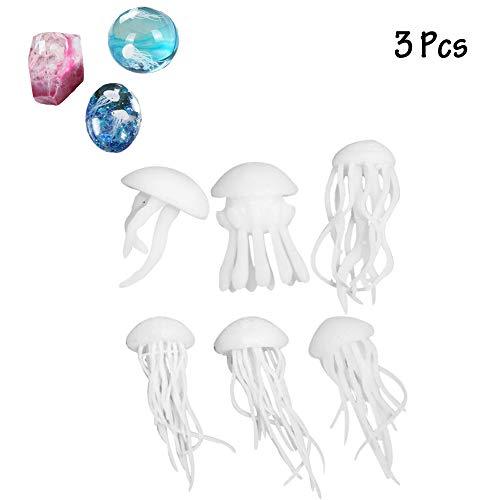 HIMM 3 Stück Anhänger Form Epoxy Kunstharz Handwerk Mini Quallen Zubehör 3D Marine Biologie Formen Füller für DIY Schmuck Kristall Herstellung Epoxy Shell