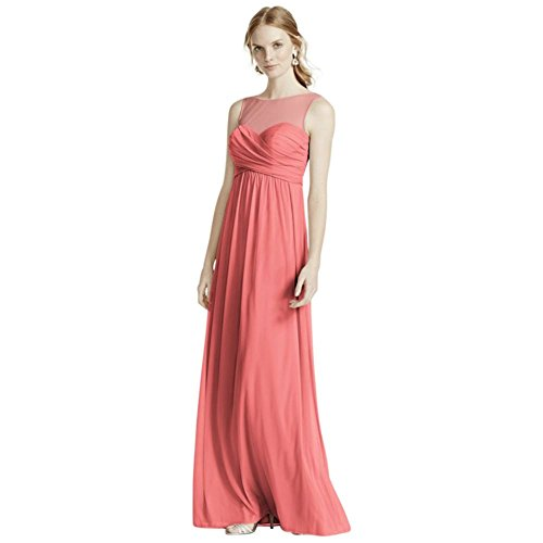 Long Mesh Bridesmaid Dress with Illusion Sweetheart Neckline Style F15927, Clover, 6