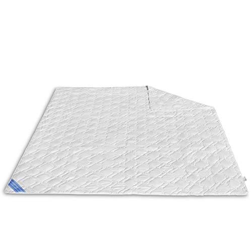 VitaloEssential Sommerdecke 240 x 220 cm - atmungsaktive Seide Decke - Bettdecke aus 60prozent Wildseide- & 40prozent Baumwoll-Füllung - waschbare Schlafdecke - Sommerdecke für Allergiker
