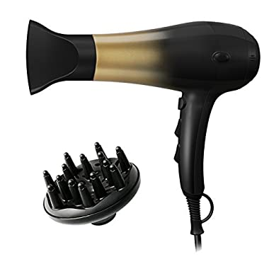 KIPOZI 1875W Hair Dryer,Nano Ionic Blow Dryer Professional Salon Hair Blow Dryer Lightweight Fast Dry Low Noise,with Concentrator & Diffuser,2 Speed & 3 Heat Setting