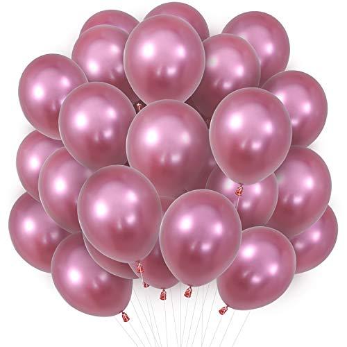 PartyWoo Luftballons Rosa, 30 Stück 12 Zoll Luftballons Metallic Rosa