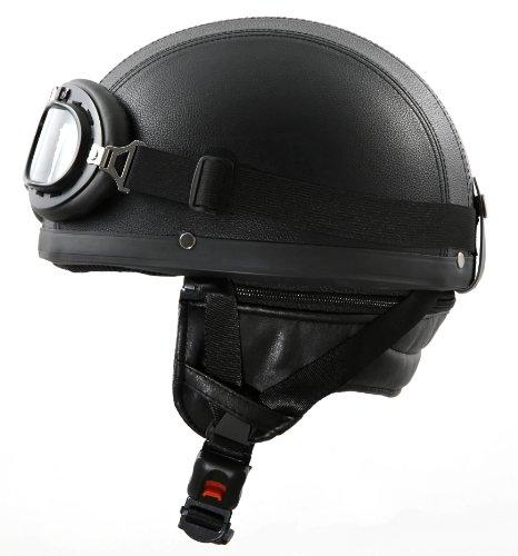 ATO Moto Oldtimer Motorradhelm mit Brille Größen: XS bis XL Farben: Weiß, Schwarz glänzend oder Schwarz matt (L 59/60cm, Leder)
