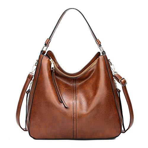 DEERWORD Damen Handtaschen Frauen Schultertaschen PU-Leder Bowlingtaschen Umhängetaschen Braun