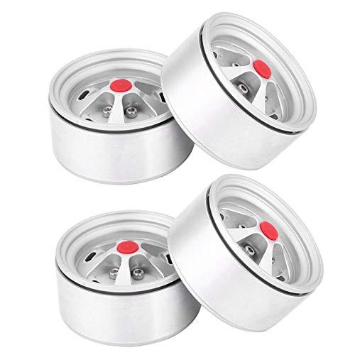 Cubo de rueda 1/10 Rc Reemplazo de neumáticos viejos de cubo de rueda de metal Mano de obra fina 4 Neumáticos de cubo de rueda Rc para personas de 6 años o mayores para 1/10 Rc Crawler(Silver)