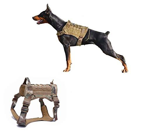 Ducomi Arnés Táctico Militar para Perro K9, Perros de Entrenamiento y de Trabajo - Arnés Chaleco para Perros Medianos, Grandes, Pastor Alemán, Pitbull, Rottweiler (Camo, XL)