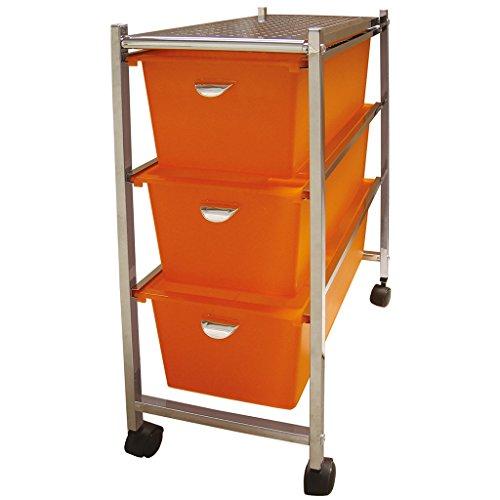 Laroom Carrito Estrecho 3 cajones, Chrome Acero Inoxidable Structure y PP Drawers, Naranja