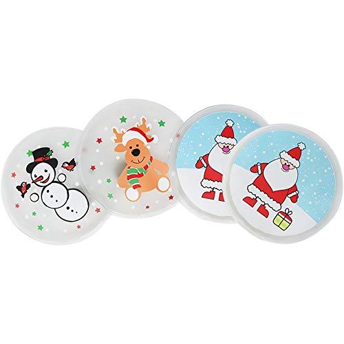 com-four® 4X Taschenwärmer in verschiedenen weihnachtlichen Motiven (04 Stück - Elch/Santa/Schneemann)