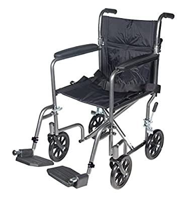 """Drive Medical Lightweight Steel Transport Wheelchair, Fixed Full Arms, 17"""" Seat, Silver Vein from Drive Medical"""