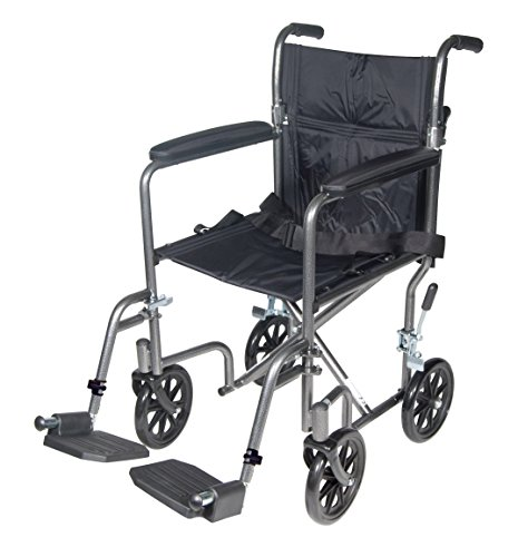 "Drive Medical Lightweight Steel Transport Wheelchair, Fixed Full Arms, 17"" Seat, Silver Vein"