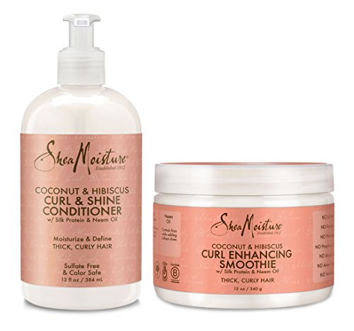 Shea Moisture Coconut and Hibiscus Combination Pack - 13 oz. Curl & Shine Conditioner & 12 oz. Curl Enhancing Smoothie by Shea Moisture