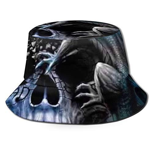 HARLEY BURTON Sombrero unisex del pescador del sombrero azul de la ira del dragón del cráneo del viaje de la playa del sol Sombreros para hombres y mujeres