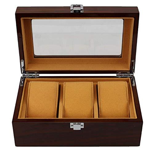 WWKDM Caja de Madera para Guardar Relojes, Caja de colección de Relojes, Cubierta de Vidrio, con Cerradura, con Capacidad para 3 Relojes. Botón de Metal. Good Stuff