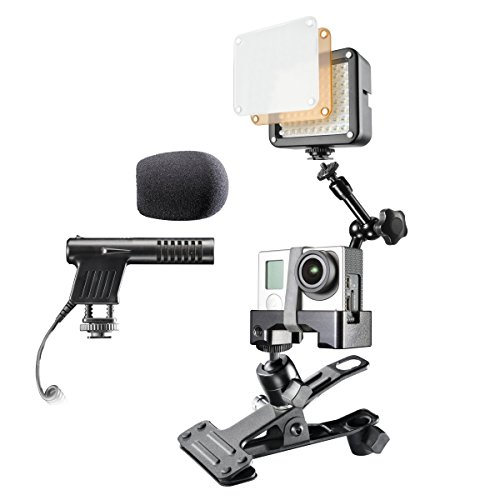 Mantona Caseless Mount Set incl. klem, scharnierarm, microfoon en LED-video lamp voor GoPro Hero