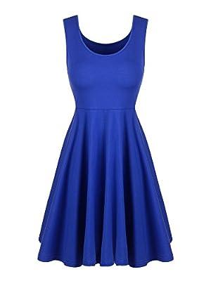 Willbond Sleeveless Flare Dress Scoop Neck A-line Flared Dress Summer Midi Flared Tank Dress