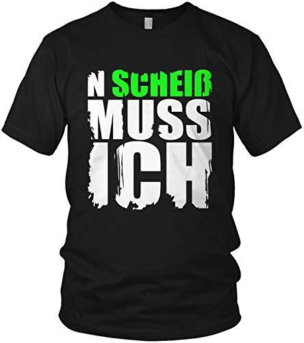 N Scheiß muss ich - Spruch, Sprüche Statement Shirt - Herren T-Shirt und Männer Tshirt, Farbe:Neon Grün, Größe:XL