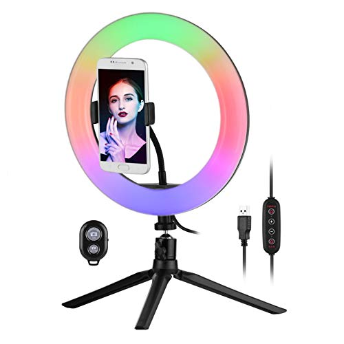 Andoer 10 inch RGB LED Selfie Ring Light with Tripod Stand Phone Holder - 29 Lighting Modes Dimmable USB Powered for Live Video Selfie Makeup Vlog