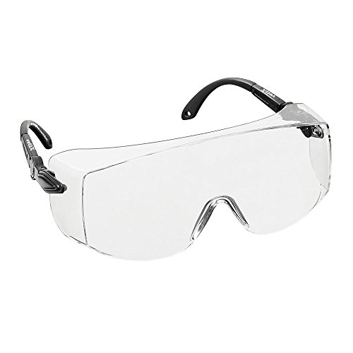 voltX \'OVERSPECS\' Gewerbliche Schutzbrille für Brillenträger im Industriewesen - CE EN166f zertifiziert (klare Scheibe) - anpassbarer Bügel - beschlagfrei, kratzfest, UV400 Schutz - Safety Overglasses