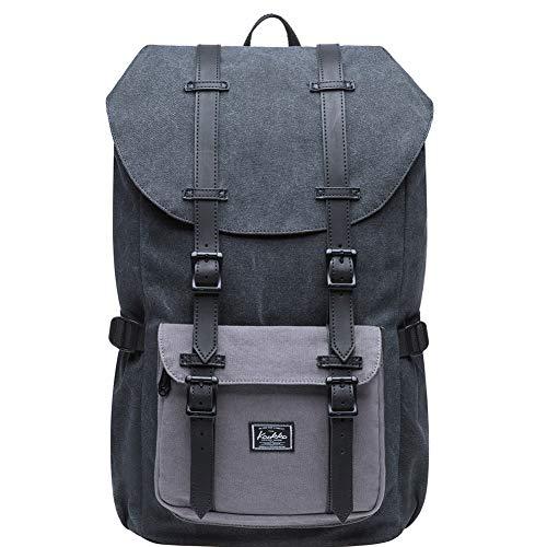 KAUKKO Vintage Rucksack Damen Herren Schön Baumwolle Daypack mit Laptopfach für 15