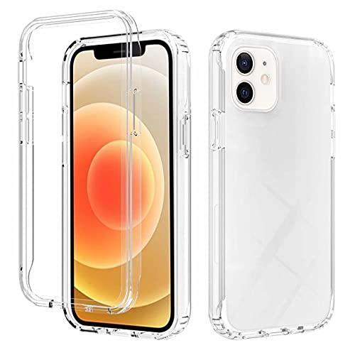 FHXD Compatible con Funda iPhone 12 Mini Degradado Color Antigolpes Cáscara Suave Transparente Atrás Shell + Ultrafina Silicona TPU Frontera Caso Delantero-Claro