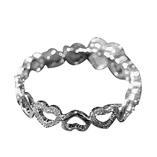 XPT Anillo de mujer de moda delicada aleación de diamantes de imitación exquisito compromiso boda anillo corazón joyería regalo US 5
