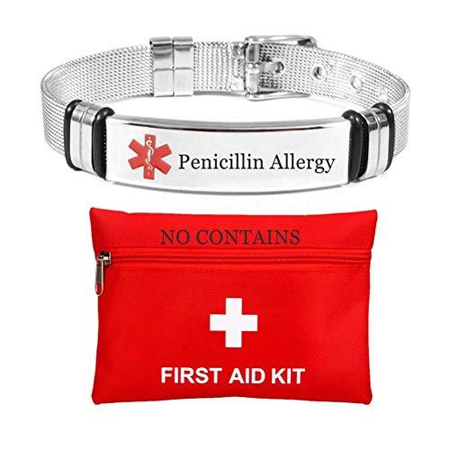 Stilvolles Edelstahlnetz Medical Allergy Alert ID Armband für Männer Frauen Teen Personalisierter Name Ice Food Allergic Med Armband für Rettungsschwimmer mit Nothilfe