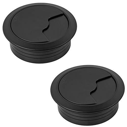 Gedotec Kabeldurchführung Schreibtisch Kunststoff rund - H1001 | Kabeldurchlass schwarz | Kabelführung Tisch zum Eindrücken | Kabeldose Bohr-Ø 60 mm | 2 Stück - Kabelausgang versenkt für Büromöbel