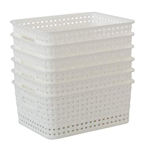 Callyne Aufbewahrungskörbe, Kunststoff, gewebt, Weiß, 6 Stück