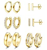 JOERICA 6 Pairs Hoop Huggie Earrings for Women Girls Minimalist Cuff Mini Bar Stud Earrings Gold Silver Cubic Zirconia Small Ear Piercing Set (Gold)