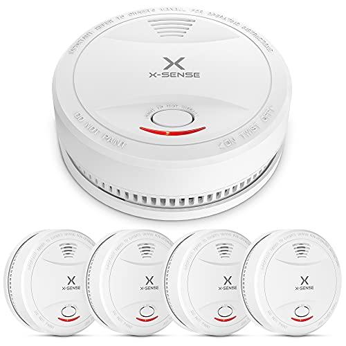 X-Sense Rauchmelder SD12   VDs & TÜV nach EN 14604 geprüfter Feuermelder   Rauchwarnmelder, Brandmelder   Verbesserte Ausführung, 5er Set