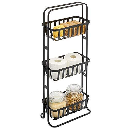 mDesign Estantería de baño móvil – Mueble organizador estrecho con 3 cestas metálicas – Estante de metal compacto para el cuarto de baño – negro mate